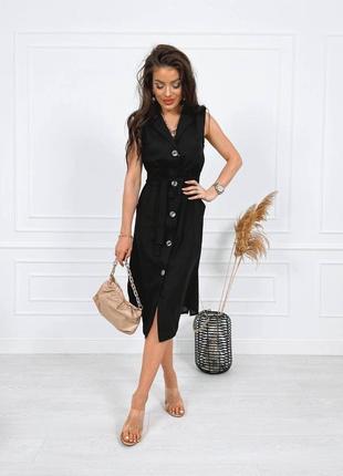 Стильное  платье-рубашка лен с карманами