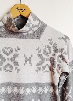 Платье орнамент снежинка зима серое3