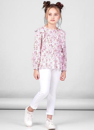 Блузка с цветочным принтом для девочки