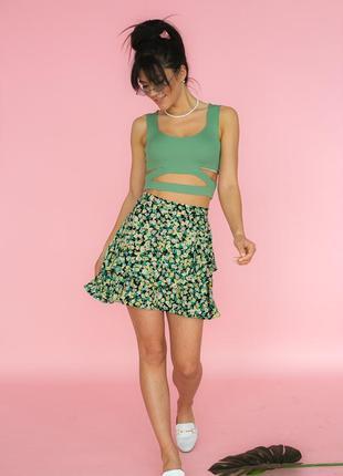 Мини-юбка с цветочным принтом изумрудный (3 цвета)