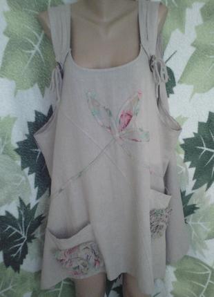 Лен льоновая льняная платье сарафан туника италия