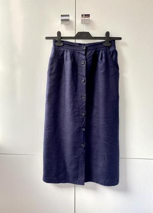 Классная  синяя льняная лен  миди юбка на пуговицах англия 1+1=3