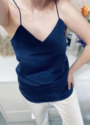 Темно синяя сатиновая блуза на тонких бретельках lauren ralph lauren1+1=3