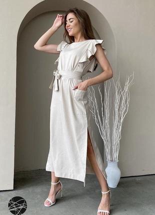 Платье миди из льна