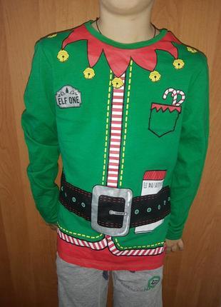 Новогодний рождественский реглан свитшот детский эльф