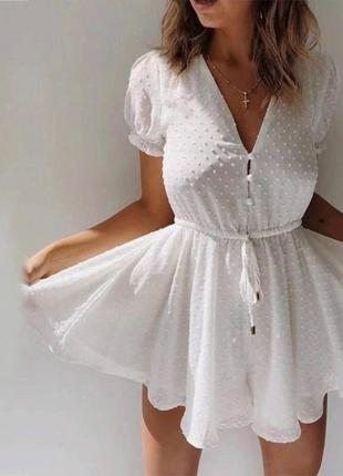Белое шифоновое платье комбинезон