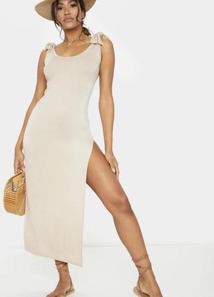 Новое летнее платье с бирками брендовое нюд беж с завязками