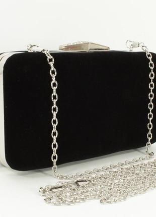 Велюровый клатч rose heart 09829-1 черный, сумочка на цепочке