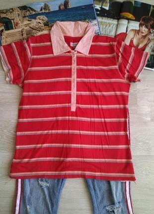 Красная  футболка поло