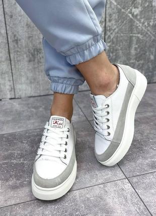 Женские кожаные бело-серые кроссовки 🍓кросівки