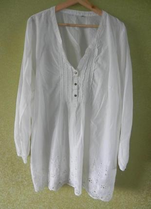 Классная хлопковая рубашка выбитый низ большой размер