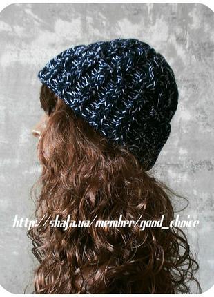 Любая расцветка! хлопковая шапка с отворотом/с косами чёрного/белого цвета (меланж)