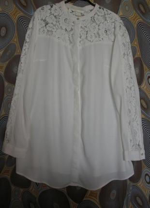 Элегантная блуза блузка с кружевом h&m вискоза длинный рукав