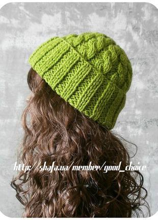 Любая расцветка! хлопковая шапка с отворотом/с косами фисташкового цвета
