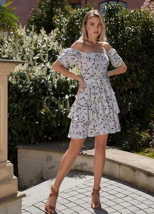 👑 цветочное платье с открытыми плечами