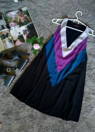 Стильное свободное платье-туника, геометрический принт, v вырез, трапеция