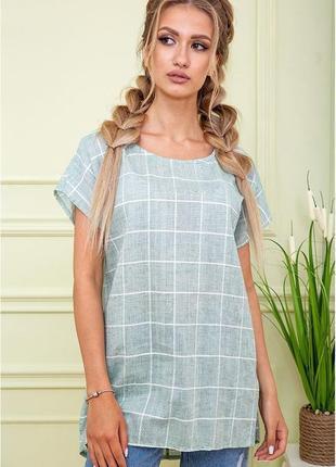 Блуза батал футболка с разрезами по бокам в клеточку туника хлопок хаки оливковый большой размер