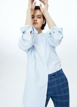 Летняя тонкая не жаркая легенькая рубашка блуза в полоску с бантом на спине