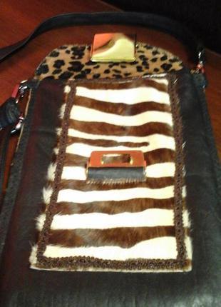 Кожаная сумка-кроссбоди (натуральный мех и кожа зебры).