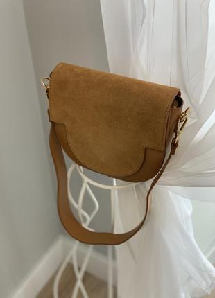 Итальянская сумка из натуральной кожи и замши2 фото