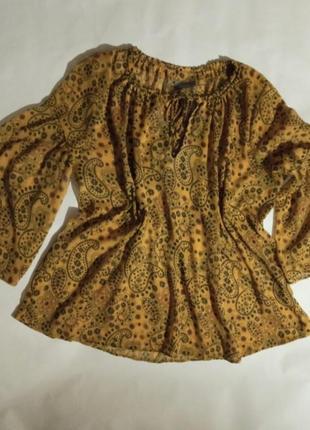Блуза блузка шифон оверсайз свободная широкий рукав в принт огурцы пейсли