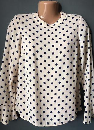 Блуза в горох с воланами на рукавах 10uk