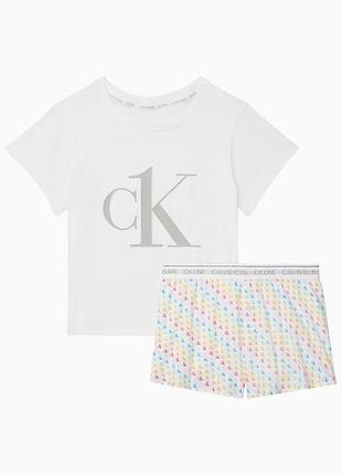 Пижама calvin klein оригинал, комплект для сна футболка+шорты (s)