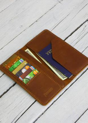 Кожаный рыжый кошелек ручной работы