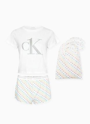 Пижама calvin klein оригинал, комплект для сна футболка+шорты (s)2 фото