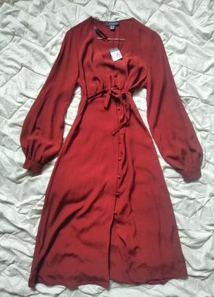 Новое романтичное платье миди макси с рукавами фонариками на пуговицах с вырезом винтажное винтаж