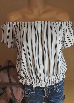 Белая блуза топ h&m. блуза с приспущенными плечами белая в полоску. блуза большой размер