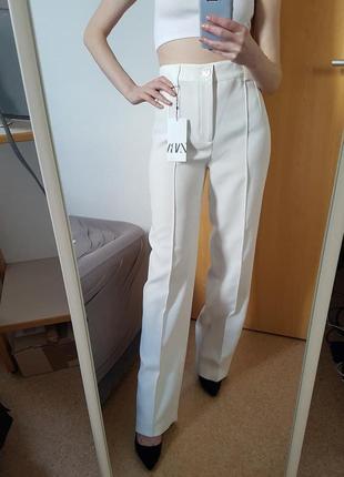 Штани брюки білі full length, zara! оригінал, з португалії!
