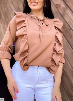Женская блуза летняя мокко с воланами батал большого размера xl плюс праздник нарядная