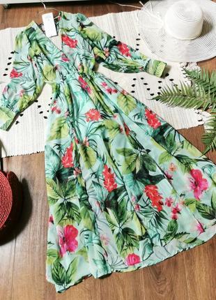 Неймовірна сукня міді з тропічним принтом шифоновое платье миди с тропическим цветочным принтом