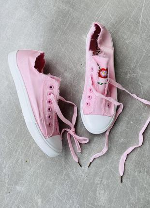 Розовые кеды текстиль/шнуровка/наложка5 фото