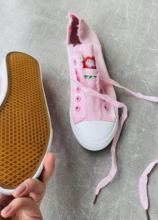 Розовые кеды текстиль/шнуровка/наложка3 фото