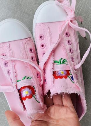 Розовые кеды текстиль/шнуровка/наложка6 фото
