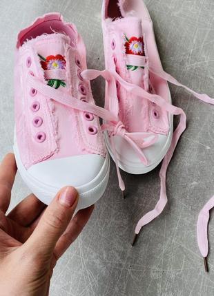 Розовые кеды текстиль/шнуровка/наложка7 фото