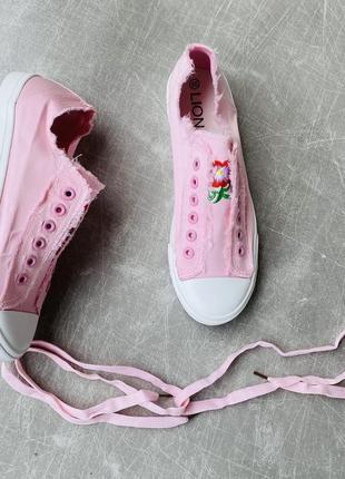 Розовые кеды текстиль/шнуровка/наложка4 фото