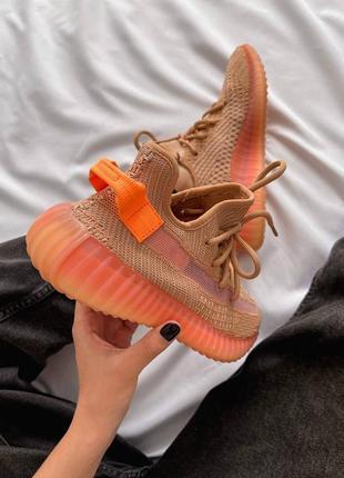 Женские кроссовки adidas yeezy 350 v2 orange / оранжевый3 фото