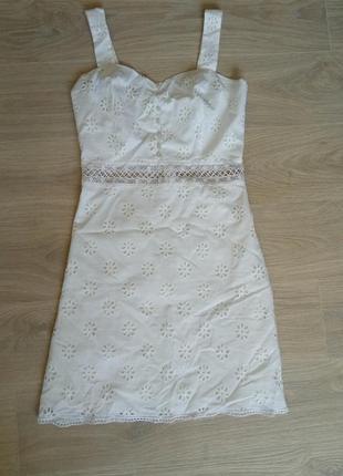 Фирменное платье бюстье шитьё, сарафан на пуговицах,бретелях 👗 трапеция из прошвы на хлопковой подкладке