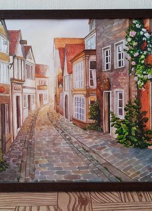 Картина акварель, городской пейзаж, живопись
