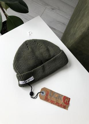 Шапка хакки с козырьком мальчуковая на мальчика зеленая вязанная кепка теплая
