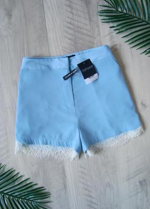 Шикарные шорты с кружевом завышенная посадка topshop