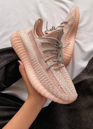 Женские кроссовки adidas yeezy 350 v2 pink / розовый