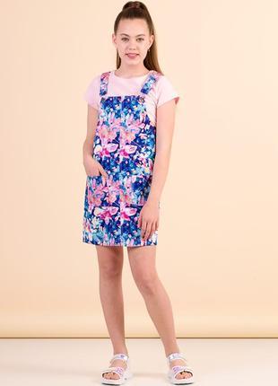 Сарафан с цветочным узором для девочки