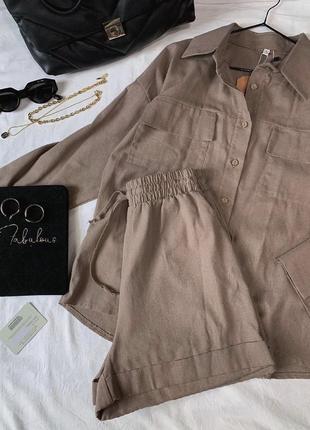Льняной костюм рубашка и шорты