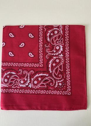 Малиновая, красная  бандана платок