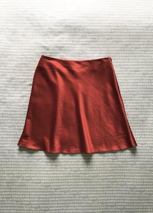 Юбка мини бельевая по косой сатиновая атлас красная купить цена