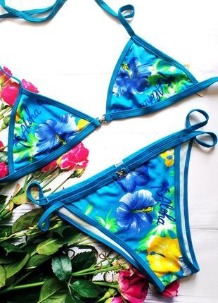 Яркий цветочный купальник купальный костюм м